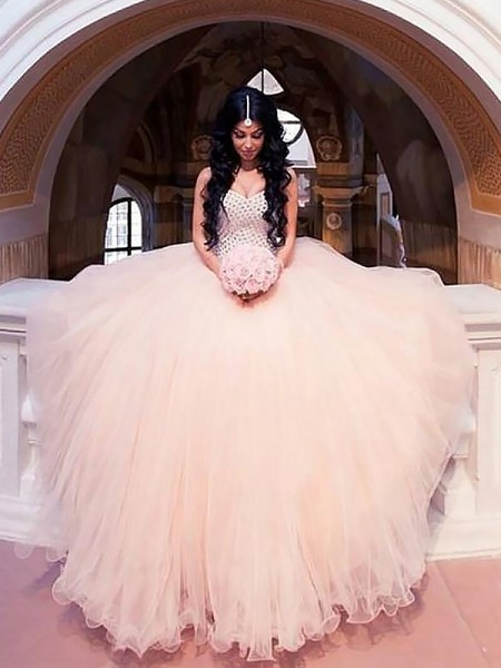 Sweep/Brush Train Ball Gown Sleeveless Sweetheart Tulle Wedding Dresses