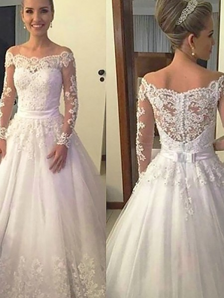 Court Train Ball Gown Long Sleeves Off-the-Shoulder Tulle Wedding Dresses