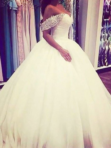 Sweep/Brush Train Ball Gown Sleeveless Off-the-Shoulder Tulle Wedding Dresses