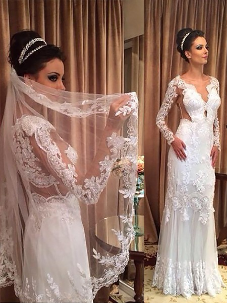 Sweep/Brush Train Sheath/Column Long Sleeves V-neck Tulle Wedding Dresses
