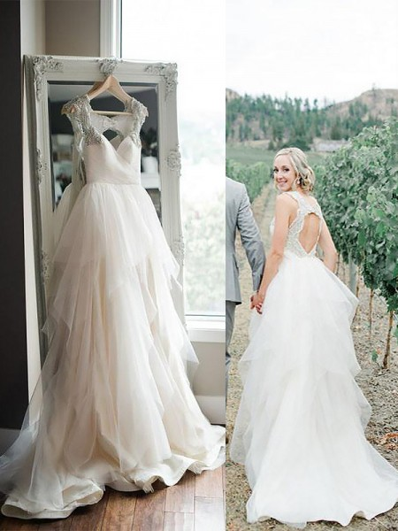 Sweep/Brush Train A-Line/Princess Sleeveless Straps Tulle Wedding Dresses