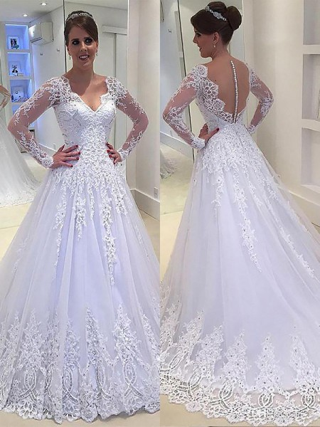 Court Train A-Line/Princess Long Sleeves V-neck Tulle Wedding Dresses