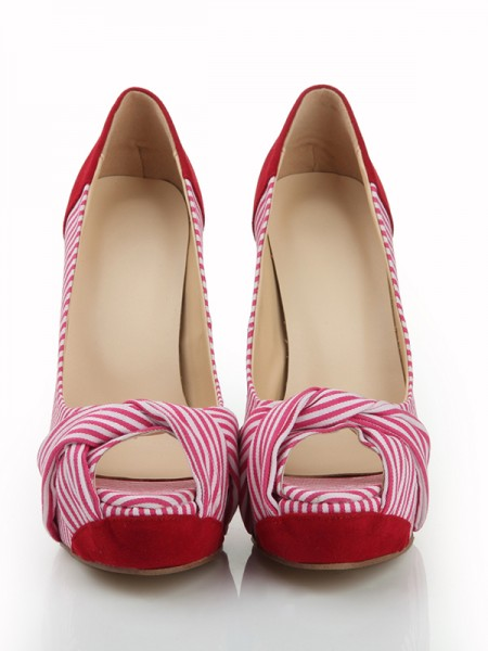 The Most Fashionable Women's Peep Toe Stiletto Heel Suede Platform With Knot Platforms Shoes