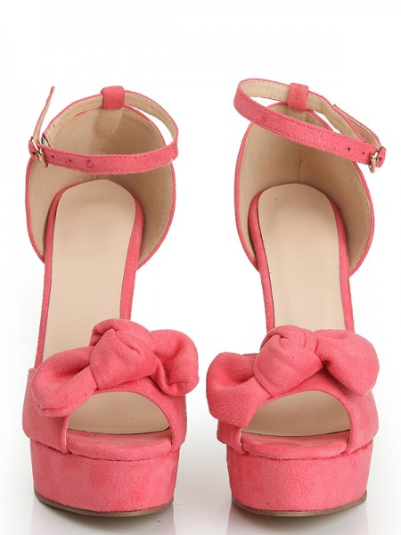The Most Trendy Women's Peep Toe Suede Stiletto Heel Platform With Knot Platforms Shoes