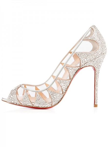 The Most Trendy Women's Suede Peep Toe Stiletto Heel with Hot Drilling High Heels
