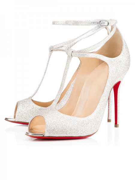 The Most Fashionable Women's Sparkling Glitter Peep Toe with Ankle Strap Stiletto Heel High Heels