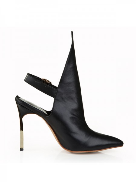 The Most Fashionable Women's Cattlehide Leather Stiletto Heel Closed Toe With Buckle Black Booties
