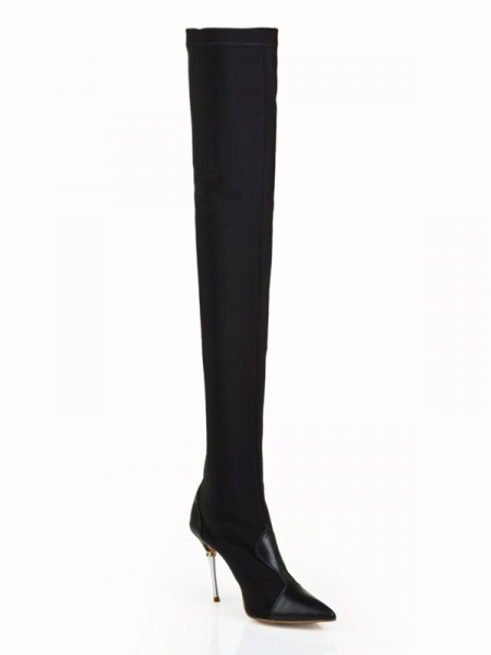 The Most Fashionable Women's Elastic Leather Stiletto Heel Closed Toe Over The Knee Black Boots