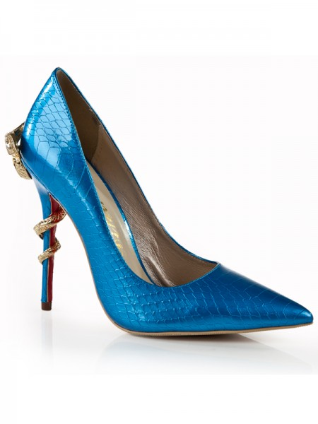 The Most Fashionable Women's Stiletto Heel Royal Blue Closed Toe With Rhinestone High Heels