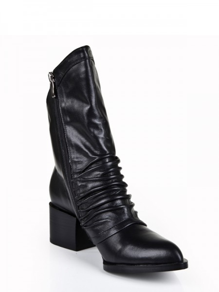 The Most Trendy Women's Cattlehide Leather Kitten Heel Closed Toe With Zipper Mid-Calf Black Boots