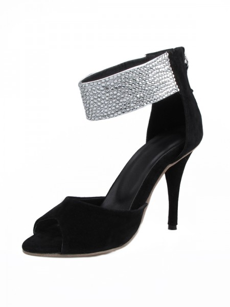 The Most Fashionable Women's Suede Stiletto Heel Peep Toe With Rhinestone Sandals Shoes