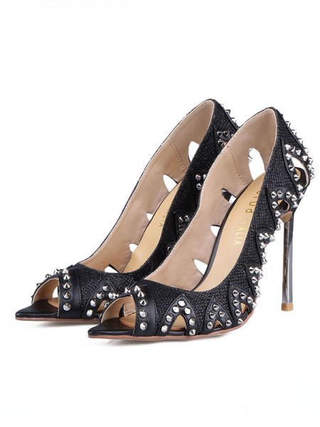 The Most Fashionable Women's Grete Stiletto Heel Peep Toe With Rivet Sandals Shoes
