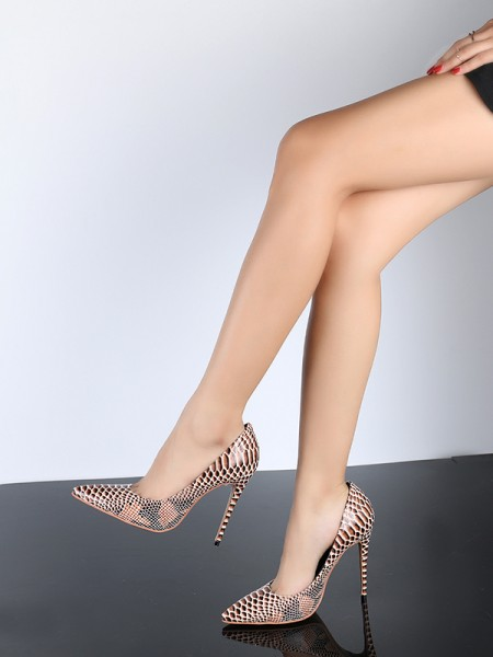 The Most Trendy Women's Closed Toe PU Stiletto Heel With Snake Print High Heels