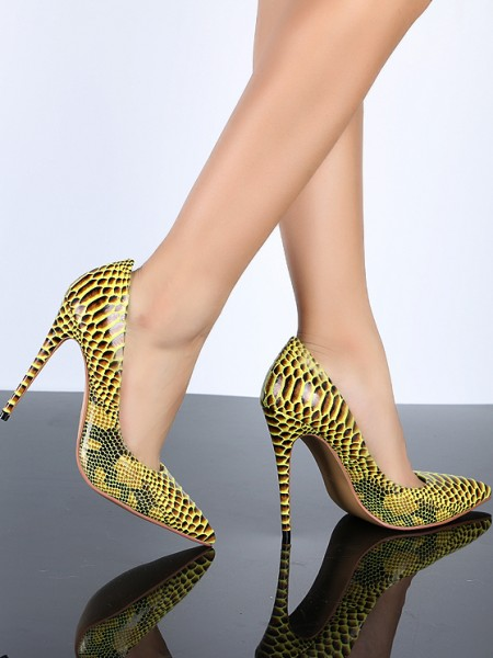 The Most Trendy Women's Closed Toe Yellow PU Stiletto Heel With Snake Print High Heels