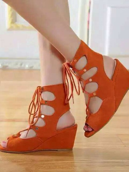 Fashion Trends Women's Wedge Heel Suede Peep Toe With Lace-up Sandal Ankle Orange Boots
