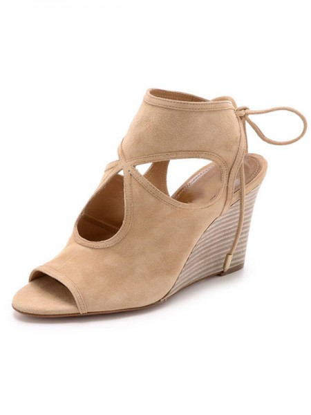 The Most Stylish Women's Peep Toe Suede Wedge Heel With Lace-up Sandal Ankle Champagne Boots