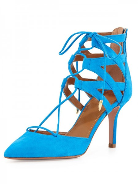 The Most Fashionable Women's Suede Stiletto Heel Closed Toe With Lace-up Sandals Shoes