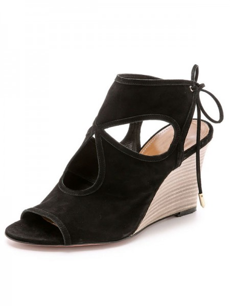 The Most Stylish Women's Wedge Heel Suede Peep Toe With Lace-up Sandal Ankle Black Boots