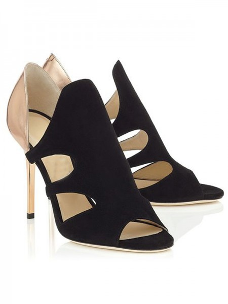 The Most Fashionable Women's Stiletto Heel Suede Peep Toe Sandals Shoes