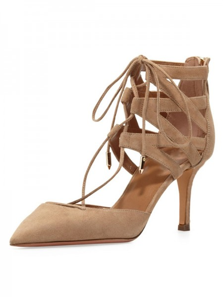 The Most Fashionable Women's Stiletto Heel Suede Closed Toe With Lace-up Sandals Shoes