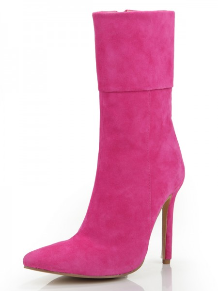 The Most Stylish Women's Stiletto Heel Closed Toe Suede With Zipper Mid-Calf Fuchsia Boots