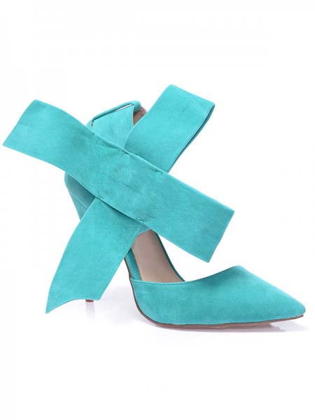 The Most Fashionable Women's Stiletto Heel Suede Closed Toe With Knot High Heels