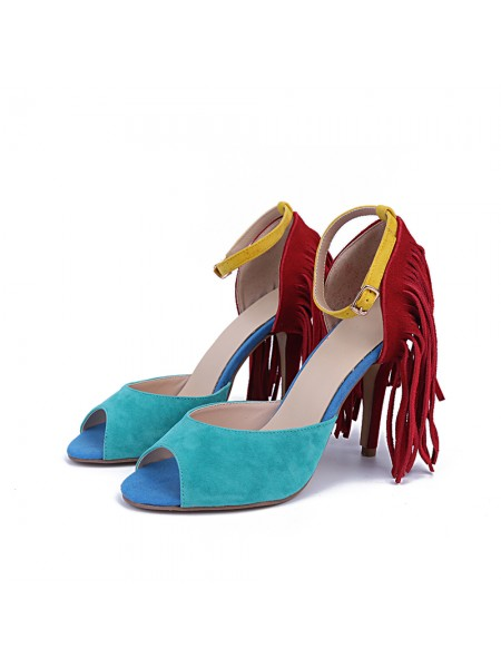 The Most Trendy Women's Suede Peep Toe Stiletto Heel With Tassel Sandals Shoes