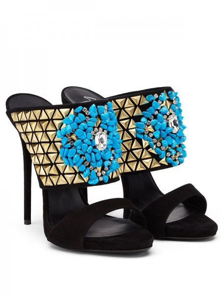 The Most Stylish Women's Suede Peep Toe Stiletto Heel With Beading Party Sandals Shoes