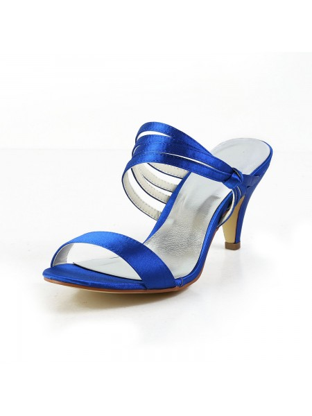 The Most Stylish Women's Satin Cone Heel Peep Toe Pumps Sandals Shoes