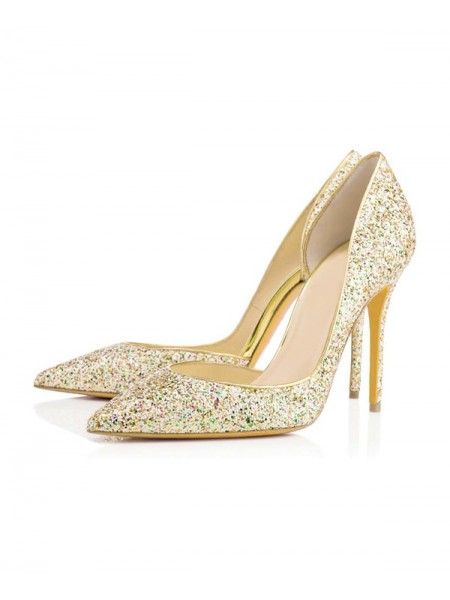 The Most Stylish Women's Closed Toe Stiletto Heel With Sequin High Heels