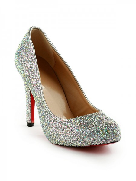 The Most Fashionable Women's Stiletto Heel Rubber With Rhinestones Party & Evening High Heels
