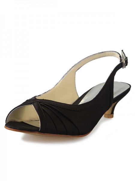 The Most Fashionable Women's Kitten Heel Satin Peep Toe Slingbacks With Buckle Sandals Shoes