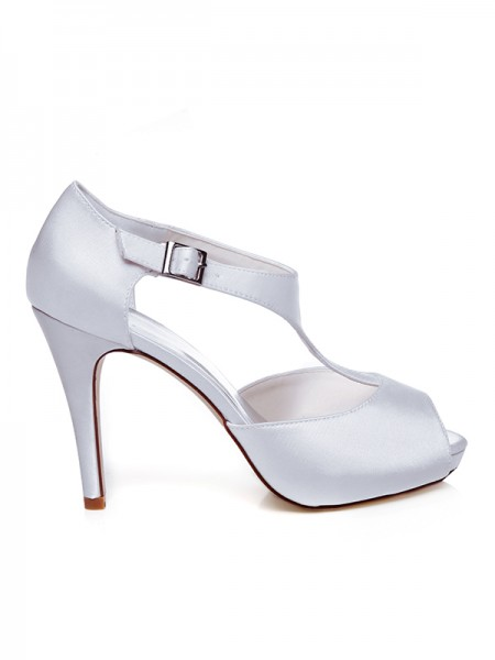 The Most Trendy Women's Satin Peep Toe Buckle Stiletto Heel Wedding Shoes
