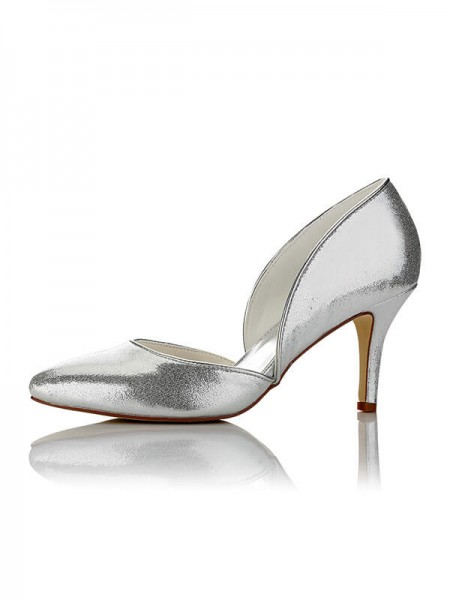 Stylish PU Closed Toe Stiletto Heel Wedding Shoes For Women