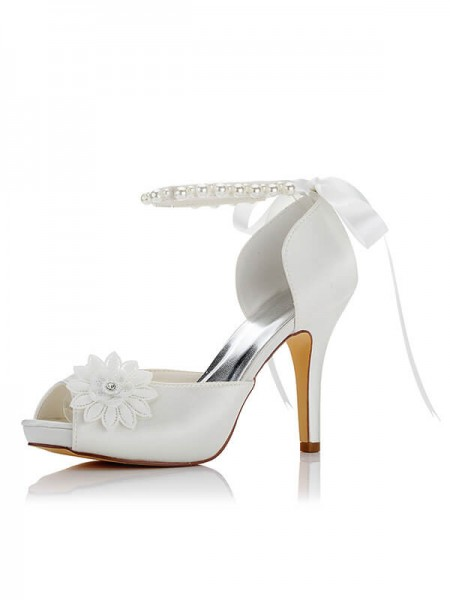 Fashion Satin PU Peep Toe Stiletto Heel Wedding Shoes For Women