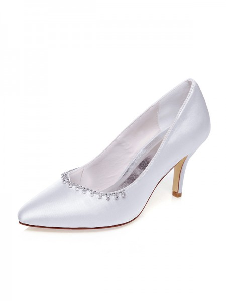 The Most Trendy Women's Satin Closed Toe Beading Stiletto Heel Wedding Shoes