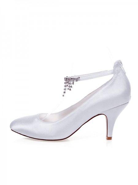 The Most Trendy Women's Satin Closed Toe Beading Spool Heel Wedding Shoes