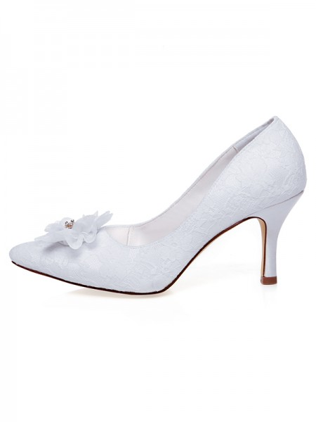 The Most Trendy Women's Satin Closed Toe Flower Spool Heel Wedding Shoes