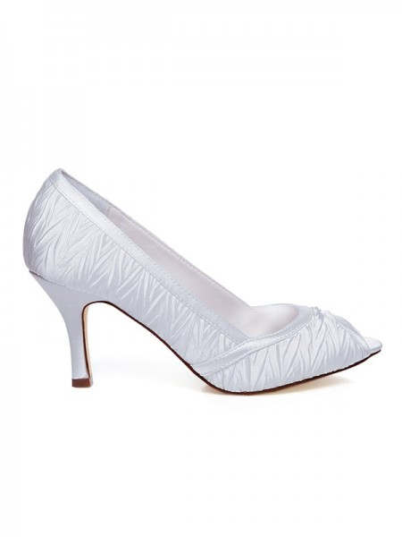 The Most Trendy Women's Satin Spool Heel Wedding Shoes