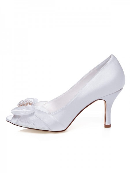 Fashion Trends Women's Satin Peep Toe Stiletto Heel Bowknot Wedding Shoes