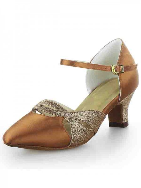 The Most Trendy Women's Satin Closed Toe Chunky Heel Buckle Sparkling Glitter Dance Shoes