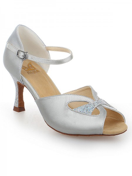 The Most Trendy Women's Peep Toe With Buckle Satin Stiletto Heel Dance Shoes