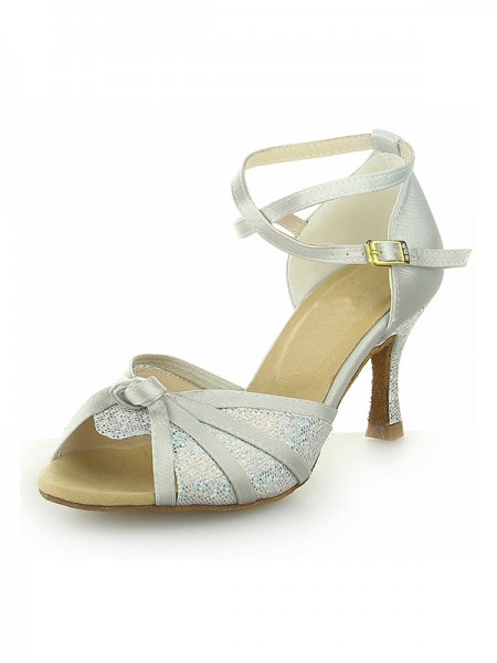 The Most Trendy Women's Peep Toe With Sparkling Glitter Satin Stiletto Heel Dance Shoes